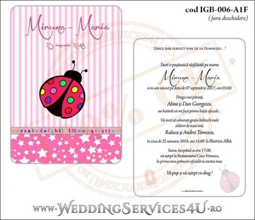 Invitatie de Botez cu gargarita si fundal roz in dungi cu stelute IGB-006-A1F