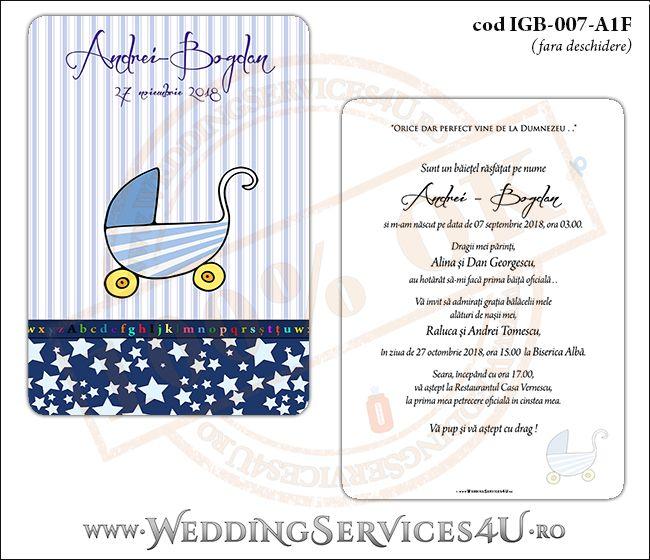 Invitatie de Botez cu carucior de copii si fundal albastru in dungi cu stelute IGB-007-A1F