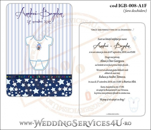 Invitatie de Botez cu body de bebelusi si fundal albastru in dungi cu stelute IGB-008-A1F