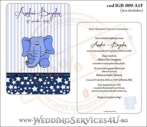Invitatie de Botez cu elefantel si fundal albastru in dungi cu stelute IGB-009-A1F