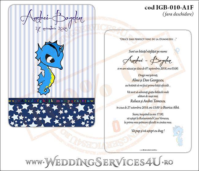 Invitatie de Botez cu calut de mare si fundal albastru in dungi cu stelute IGB-010-A1F