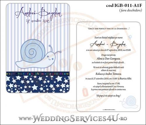 Invitatie de Botez cu melc si fundal albastru in dungi cu stelute IGB-011-A1F