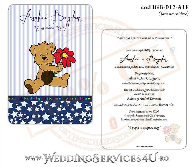 Invitatie de Botez cu ursulet si fundal albastru in dungi cu stelute IGB-012-A1F