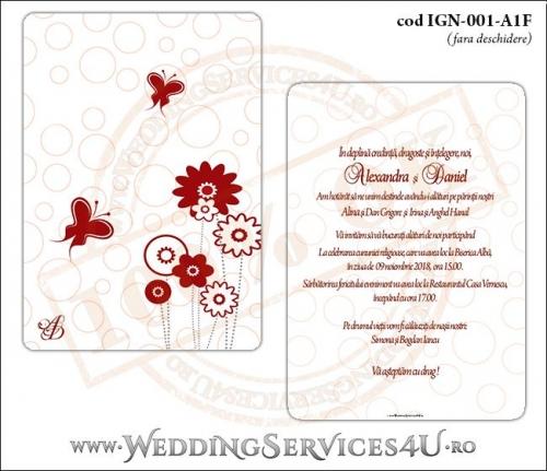 Invitatie de Nunta cu fluturi si flori model dreptunghiular IGN-001-A1F