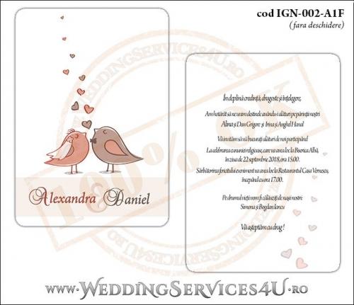 Invitatie de Nunta lovebird cu vrabiute si inimioare model dreptunghiular IGN-002-A1F