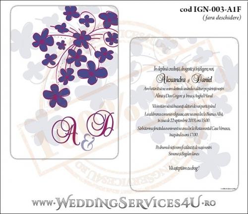Invitatie de Nunta cu flori mov IGN-003-A1F