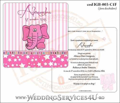 Invitatie de Botez cu elefantel si fundal roz in dungi cu stelute IGB-003-C1F