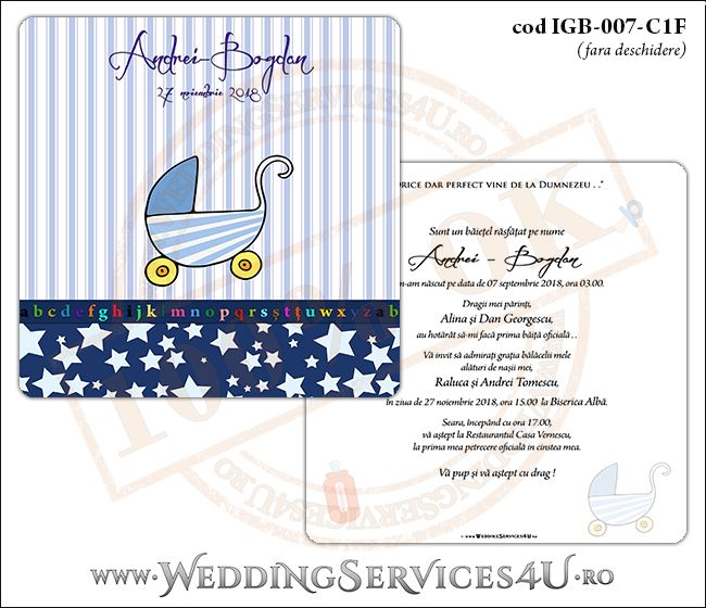 Invitatie de Botez cu carucior de copii si fundal albastru in dungi cu stelute IGB-007-C1F