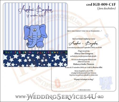 Invitatie de Botez cu elefantel si fundal albastru in dungi cu stelute IGB-009-C1F