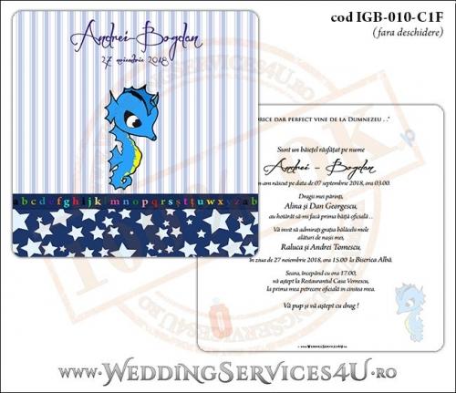 Invitatie de Botez cu calut de mare si fundal albastru in dungi cu stelute IGB-010-C1F