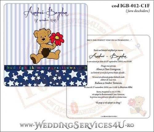 Invitatie de Botez cu ursulet si fundal albastru in dungi cu stelute IGB-012-C1F