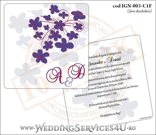 Invitatie de Nunta cu flori mov IGN-003-C1F