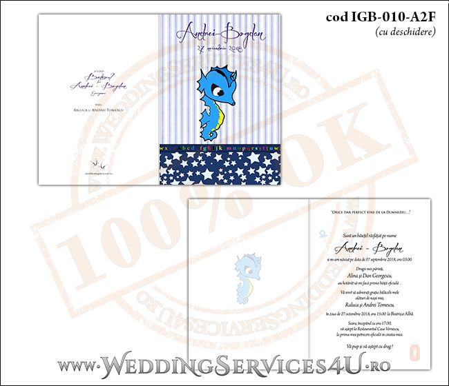 Invitatie de Botez cu calut de mare si fundal albastru in dungi cu stelute IGB-010-A2F