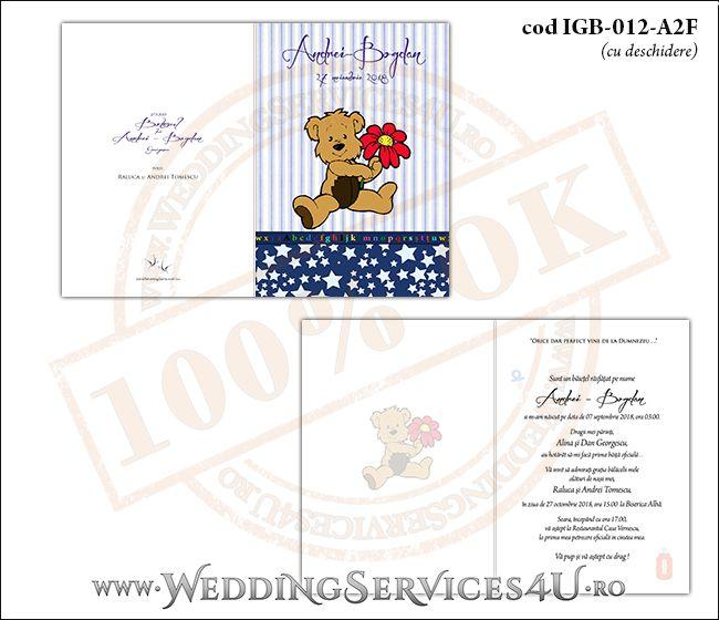 Invitatie de Botez cu ursulet si fundal albastru in dungi cu stelute IGB-012-A2F