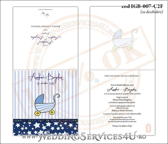 Invitatie de Botez cu carucior de copii si fundal albastru in dungi cu stelute IGB-007-C2F