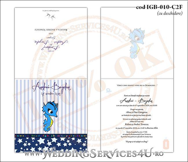 Invitatie de Botez cu calut de mare si fundal albastru in dungi cu stelute IGB-010-C2F