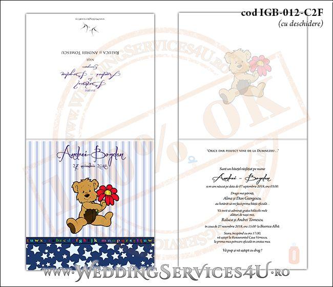 Invitatie de Botez cu ursulet si fundal albastru in dungi cu stelute IGB-012-C2F