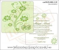 IGN-005-C1F Invitatie Nunta Botez cu flori in nunate de verde