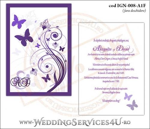 IGN-008-A1F Invitatie Nunta Botez cu flori si fluturi in nuante de mov lila violet
