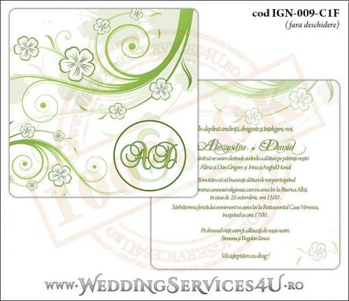 IGN-009-C1F Invitatie Nunta Botez cu flori albe cu contur verde