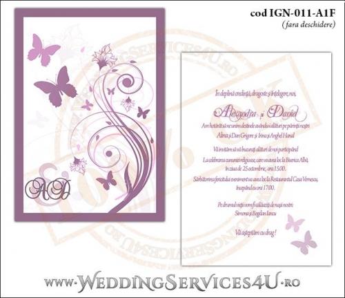 IGN-011-A1F Invitatie Nunta Botez cu flori si fluturi in nuante de roz prafuit