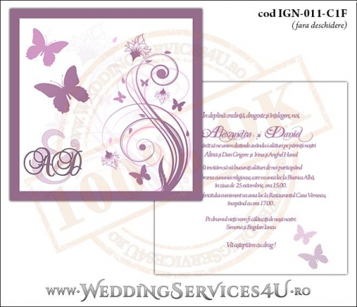 IGN-011-C1F Invitatie Nunta Botez cu flori si fluturi in nuante de roz prafuit