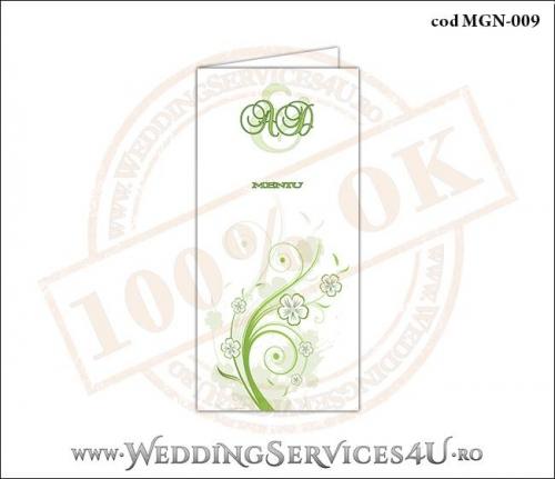 MGN-009 Meniu Nunta Botez cu flori albe cu contur verde