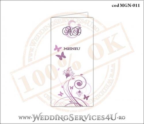 MGN-011 Meniu Nunta Botez cu flori si fluturi in nuante de roz prafuit