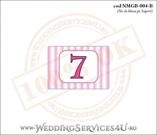 NMGB-004-B Numar de Masa pentru Botez cu dungi roz