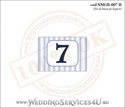 NMGB-007-B Numar de Masa pentru Botez cu dungi albastre