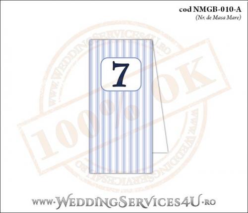 NMGB-010-A Numar de Masa pentru Botez cu dungi albastre
