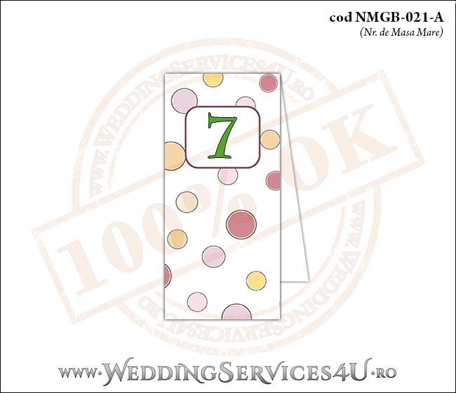 NMGB-021-A Numar de Masa pentru Botez cu buline colorate