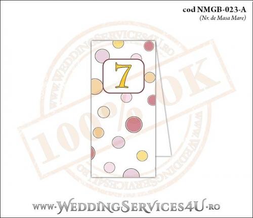 NMGB-023-A Numar de Masa pentru Botez cu buline colorate