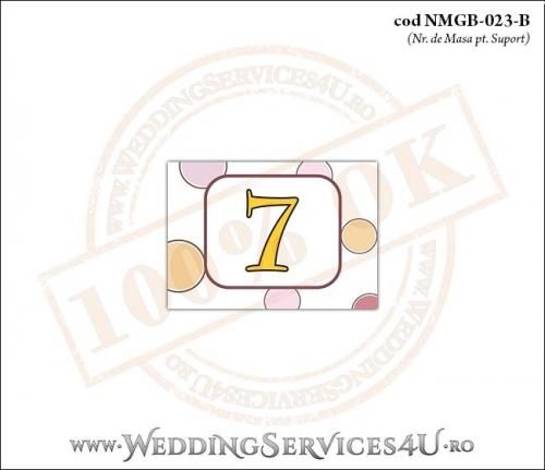 NMGB-023-B Numar de Masa pentru Botez cu buline colorate
