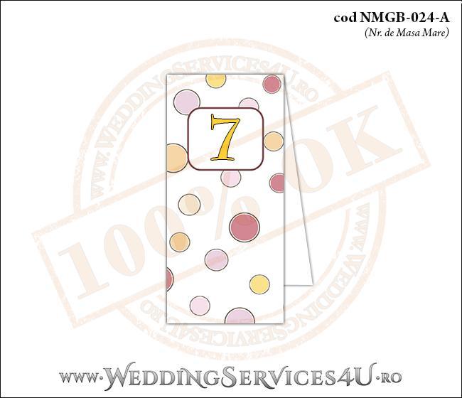 NMGB-024-A Numar de Masa pentru Botez cu buline colorate