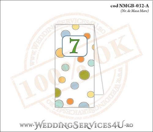 NMGB-032-A Numar de Masa pentru Botez cu buline colorate