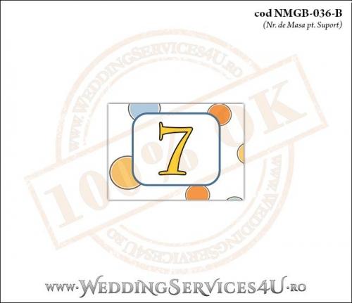 NMGB-036-B Numar de Masa pentru Botez cu buline colorate