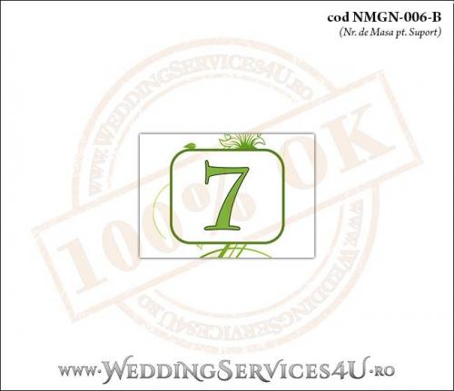 NMGN-006-B Numar de Masa pentru Nunta sau Botez cu flori si fluturi in nuante verzi