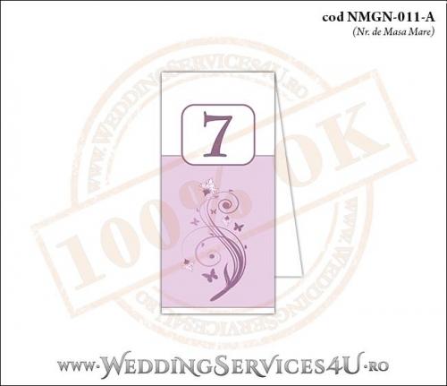NMGN-011-A Numar de Masa pentru Nunta sau Botez cu flori si fluturi in nuante de roz prafuit