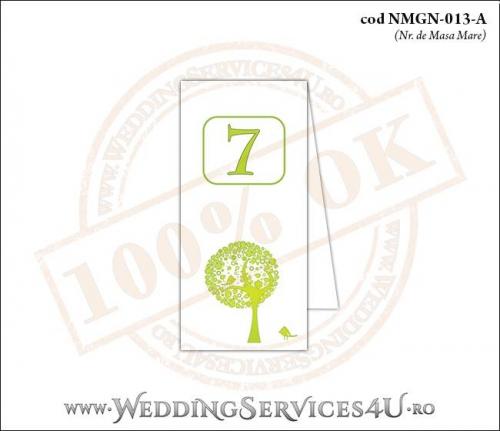 NMGN-013-A Numar de Masa pentru Nunta sau Botez cu un copac verde plin de frunze si doua vrabiute