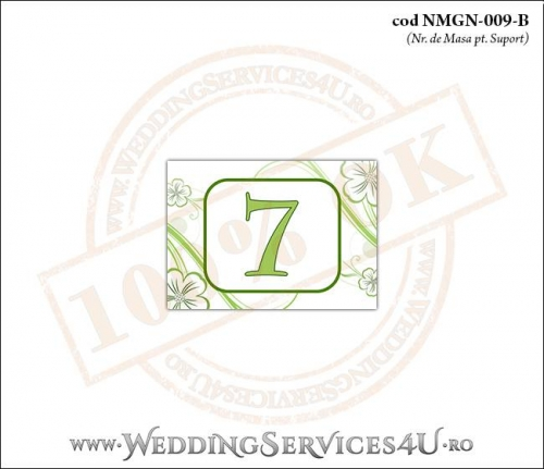 NMGN009-B Numar de Masa pentru Nunta sau Botez cu flori albe cu contur verde