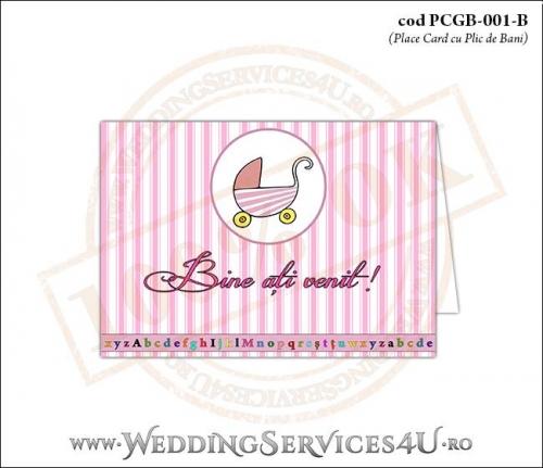 PCGB-001-B Place Card cu Plic de Bani sigilabil pentru Botez cu carucior de copii