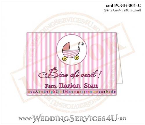 PCGB-001-C Place Card cu Plic de Bani sigilabil pentru Botez cu carucior de copii