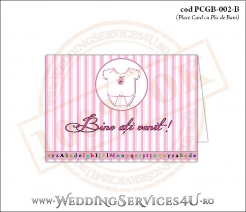 PCGB-002-B Place Card cu Plic de Bani sigilabil pentru Botez cu body de bebelusi