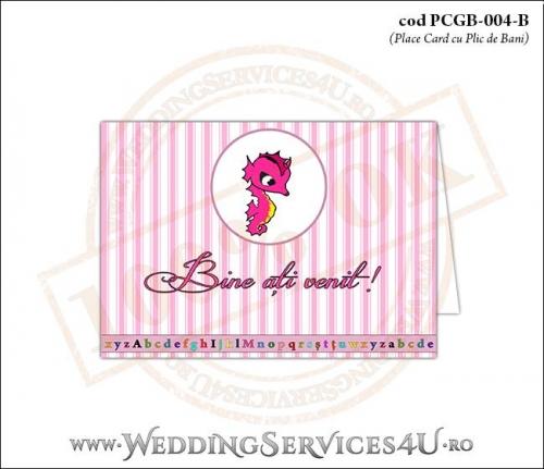 PCGB-004-B Place Card cu Plic de Bani sigilabil pentru Botez cu calut de mare