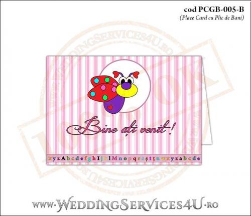 PCGB-005-B Place Card cu Plic de Bani sigilabil pentru Botez cu gargarita roz bonbon