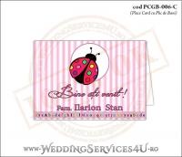 PCGB-006-C Place Card cu Plic de Bani sigilabil pentru Botez cu gargarita roz bonbon