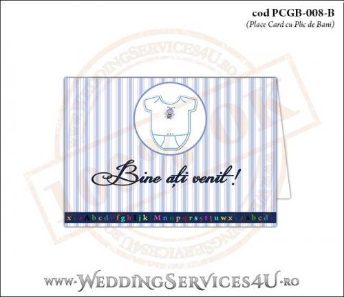 PCGB-008-B Place Card cu Plic de Bani sigilabil pentru Botez cu body de bebelusi