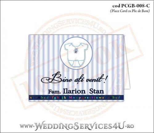 PCGB-008-C Place Card cu Plic de Bani sigilabil pentru Botez cu body de bebelusi