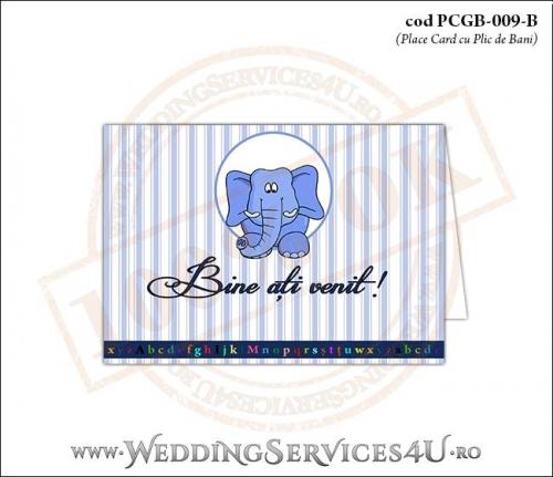 PCGB-009-B Place Card cu Plic de Bani sigilabil pentru Botez cu elefantel